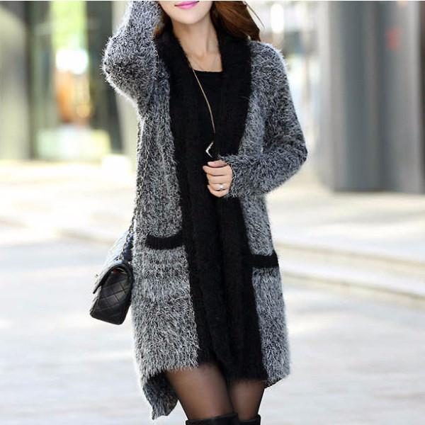 Women's Sweater Long Sleeve Knitted Long Cardigan
