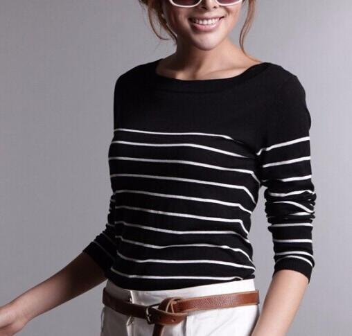 Female Striped Pullover Of Cashmere