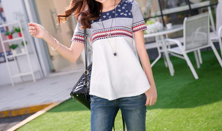 Fashionable Female Cotton O-Neck T-Shirt