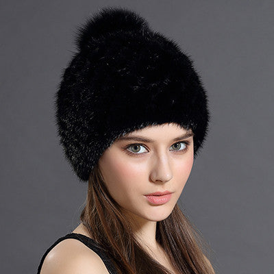 Women's Winter Hat With Fox Fur Pompoms - Zorket