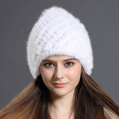 Women's Winter Hat With Fox Fur Pompoms