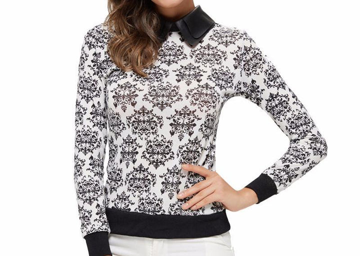 Stylish Female Turn-Down Collar Pullover