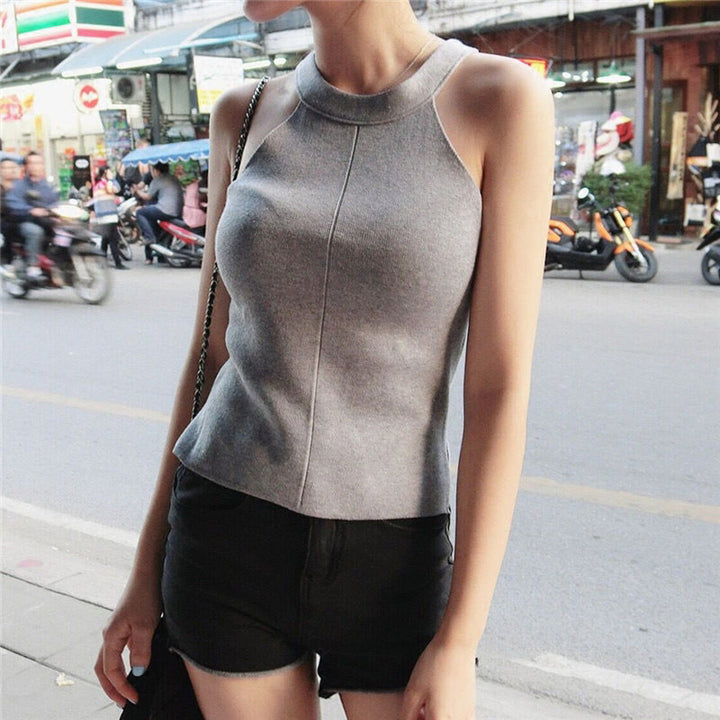 Women's Knitted Top With Straps - Zorket