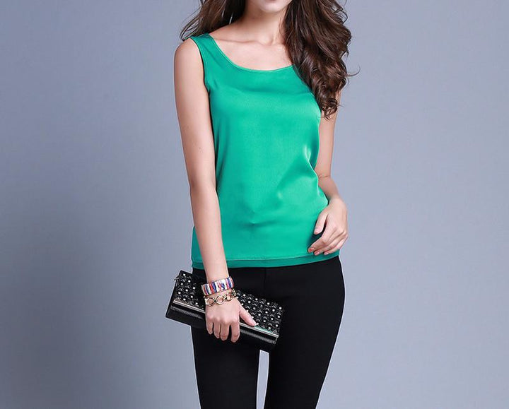 Summer Female Silk Solid Tank Top