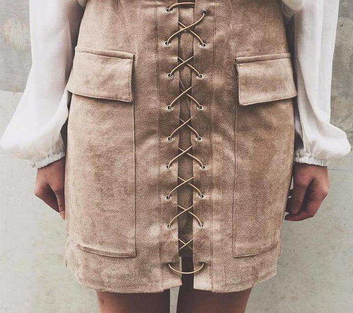 Autumn Suede Leather Women's Vintage Skirt