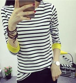 Women's Striped  O-Neck & Long Sleeves T-Shirt