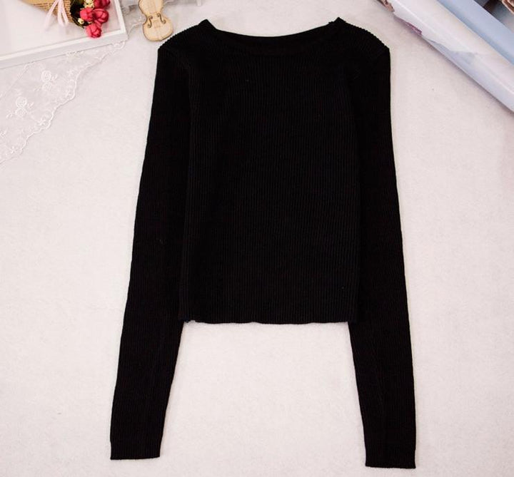 Women's Knitted Short Top With Long Sleeves