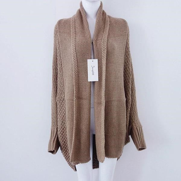 Warm Women's Solid Casual Cardigan Without Zipper - Zorket