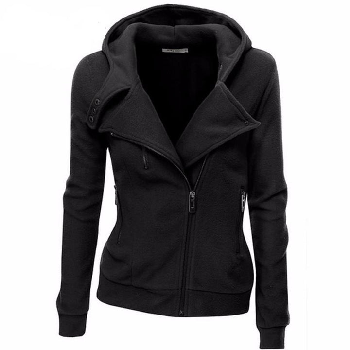Women's Solid Color Hooded Jacket