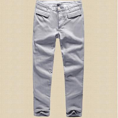 Men's Slim Fit Linen Casual Ankle Length Trousers