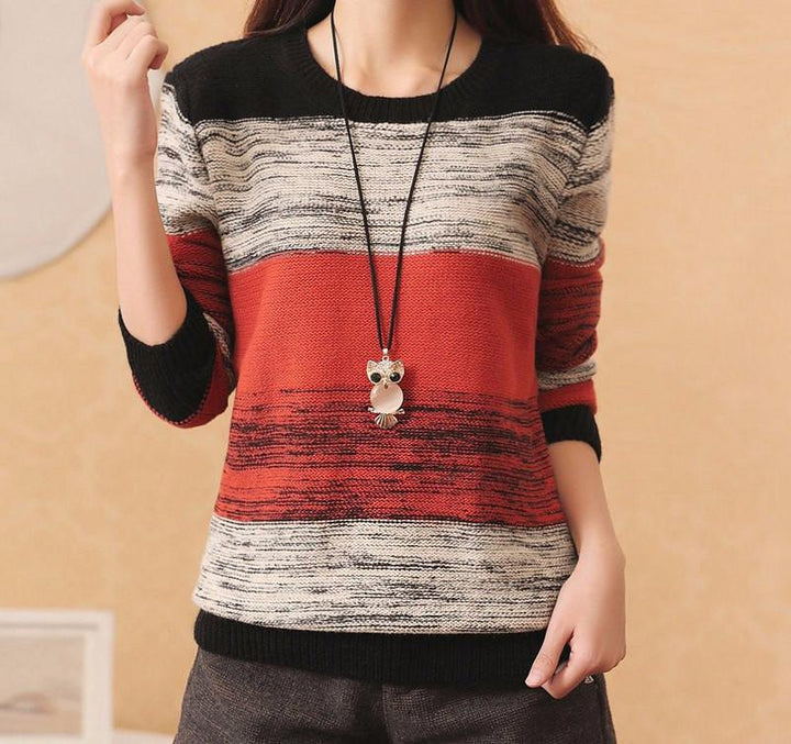 Women's Knitted Pathwork Long Sleeve O-Neck Sweater