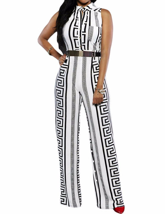 Women's Belted Elegant Wide Leg Jumpsuit