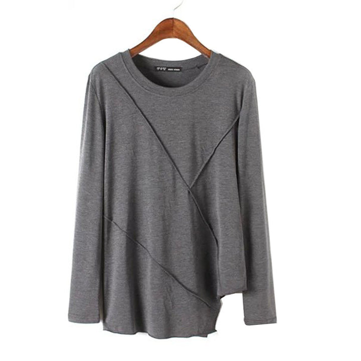 Women's Loose Solid Color Long Sleeve, O-Neck T-Shirt - Zorket