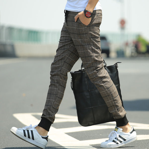 Pants – Men's Plaid Slim Fit Casual Pants | Zorket