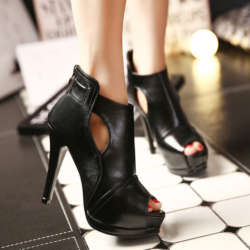 Spring / Autumn Thin Platform Open Toe Ankle Boots For Women - Zorket