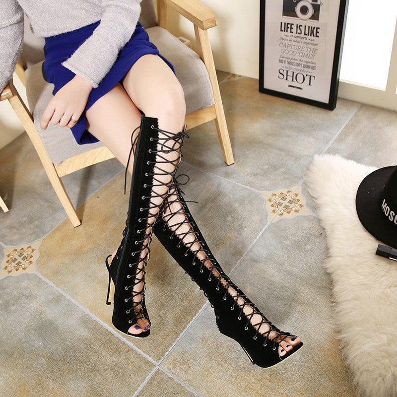 Spring/Summer Women's Knee-High Thin Heels Sandals - Zorket