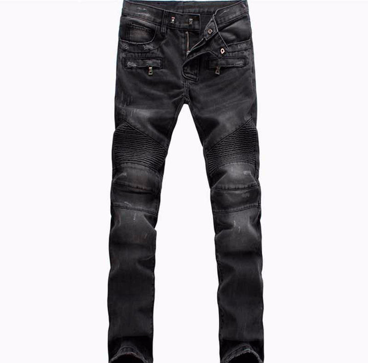 Men's Casual Ripped Biker Jeans - Zorket