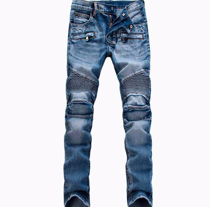 Men's Casual Ripped Biker Jeans