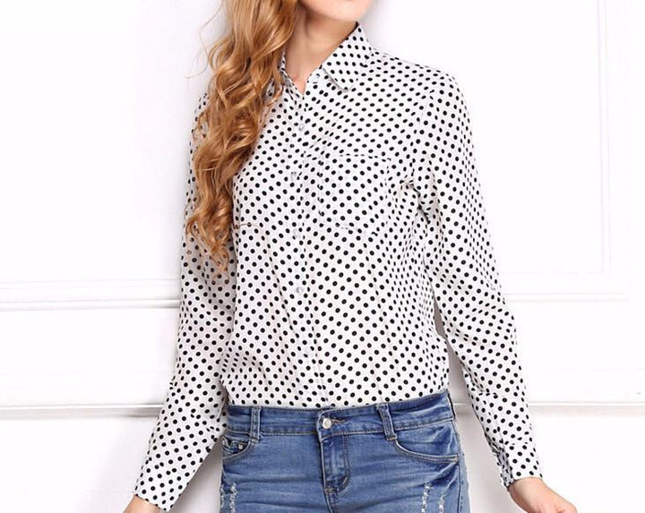 Spring Women's Shirt With A Print & Turn-Down Collar