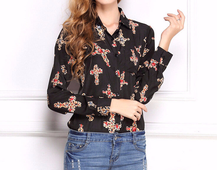 Spring Women's Shirt With A Print & Turn-Down Collar - Zorket