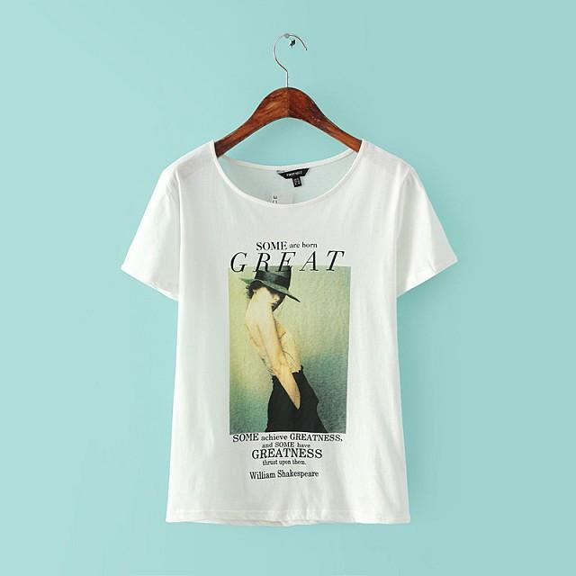 Fashionable Women's T-Shirt With A Print & O-Neck
