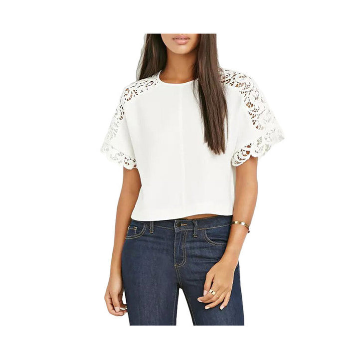 Women's Pretty Of Cotton With Laces O-Neck T-Shirt - Zorket