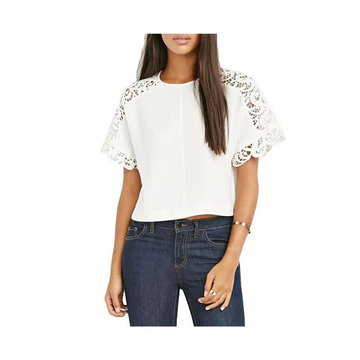 Women's Pretty Of Cotton With Laces O-Neck T-Shirt