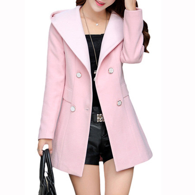 Women's Solid Casual Warm Hooded Trench Coat - Zorket