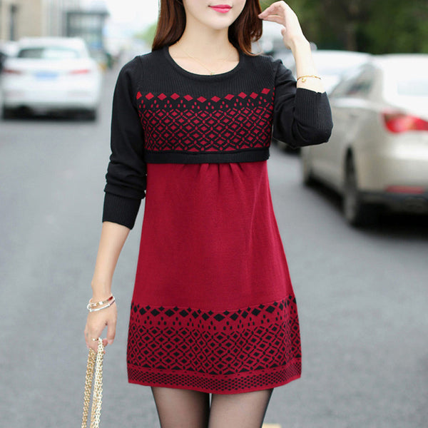 Dress – Warm Casual Slim Patchwork O-Neck Sweater Dress | Zorket