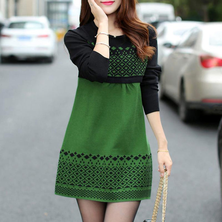 Warm Casual Slim Patchwork O-Neck Sweater Dress