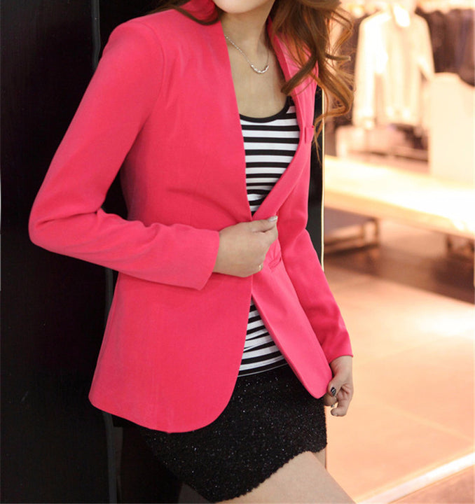 Women's Solid Color Casual Blazer - Zorket
