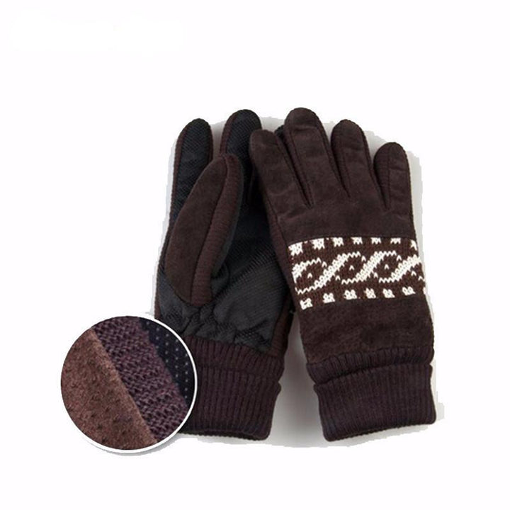 Winter Pig Leather Soft Wool Gloves For Men's