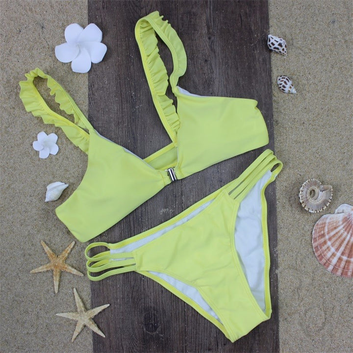 Wide Strap Solid Yellow Push Up Women's Swimwear - Zorket