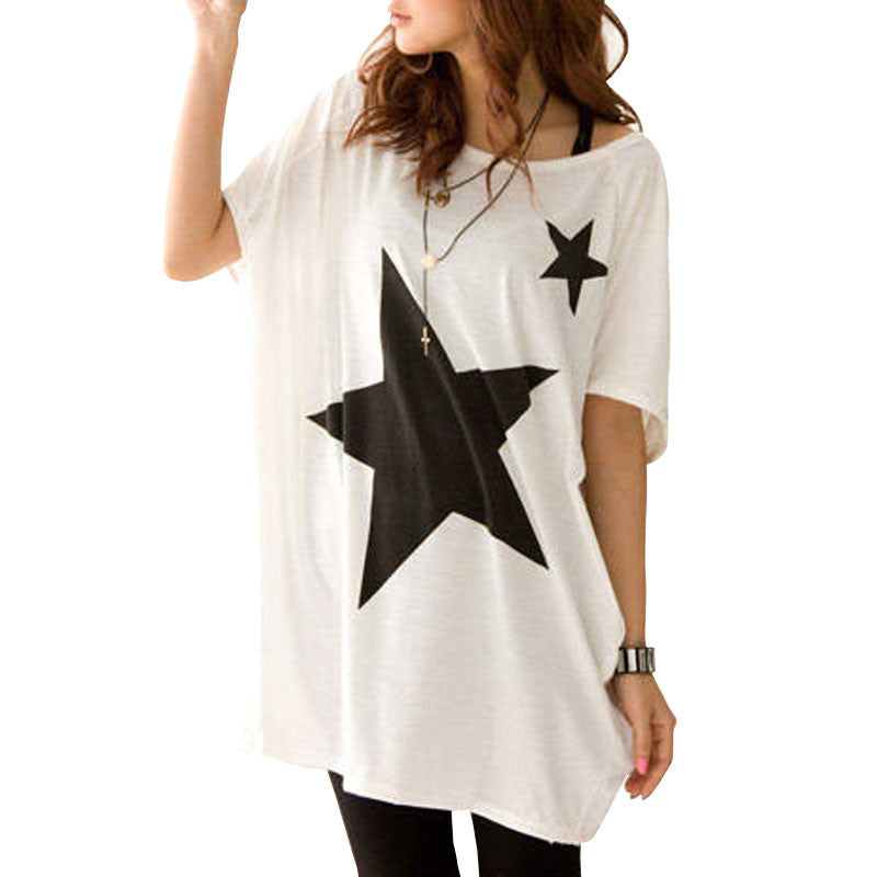 T-Shirt – Long Women's T-Shirt With Short Sleeves And A Beautiful Pattern Stars | Zorket