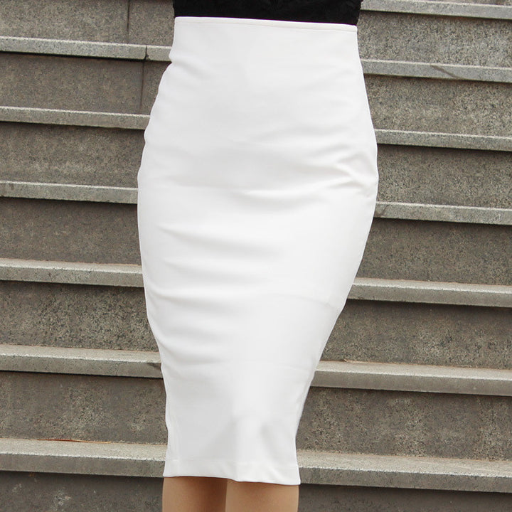 Women's High Waist Knee Length Midi Pencil Office Skirt - Zorket