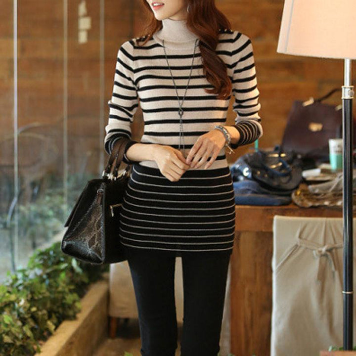 Women's Striped Sweater With High Neck