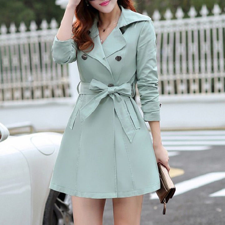 Women's Spring Turn-Down Collar Trench Coat - Zorket