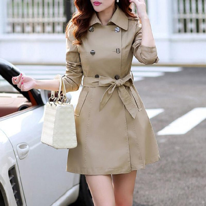 Women's Spring Turn-Down Collar Trench Coat