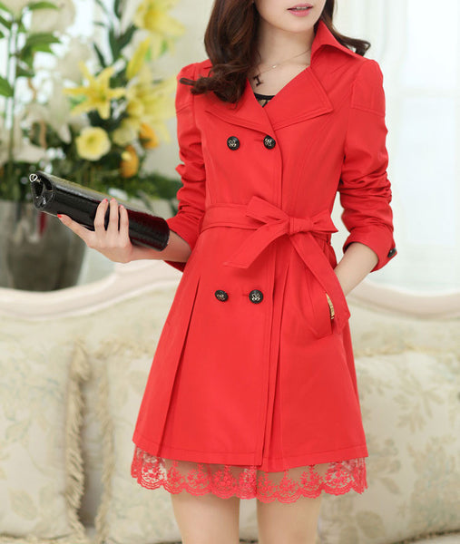 Trench Coat – Women's Belt Double-Breasted Medium Long Thin Coat | Zorket