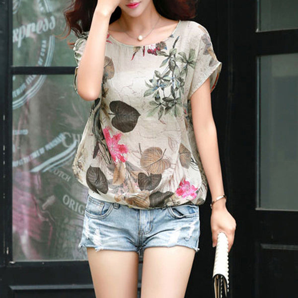T-Shirt – Female Elegant Shirt Of Linen With O-Neck | Zorket