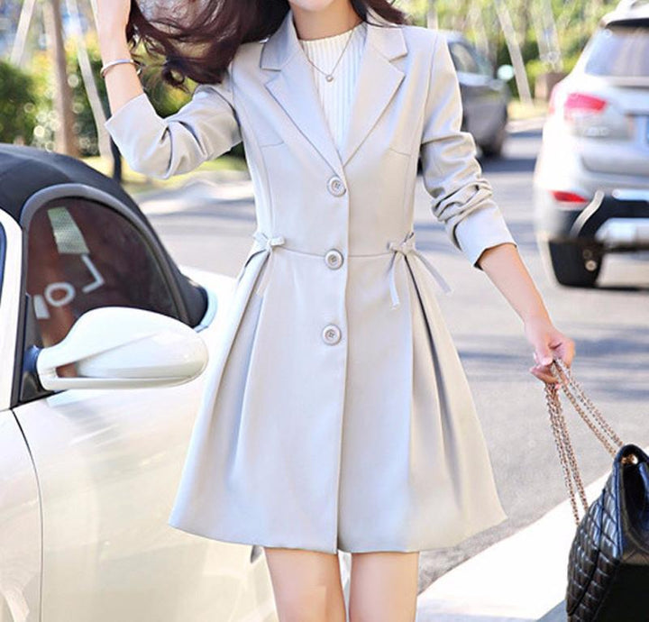 Stylish Women's Autumn Medium Long Elegant Trench Coat