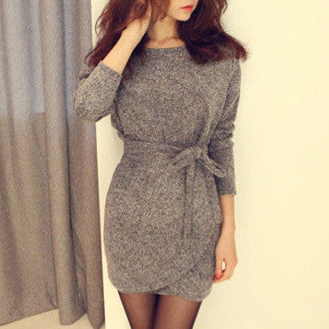 Spring Long Sleeved Dress With Size Belt - Zorket