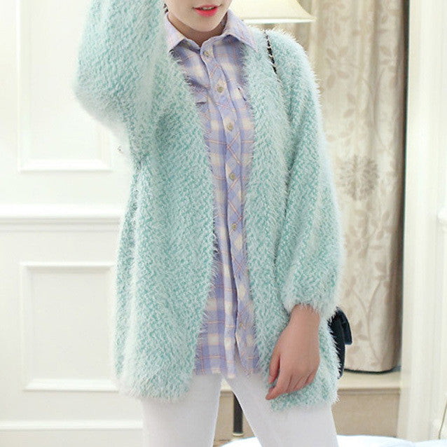 Women's Colored Casual Loose Long Knitted Cardigan - Zorket
