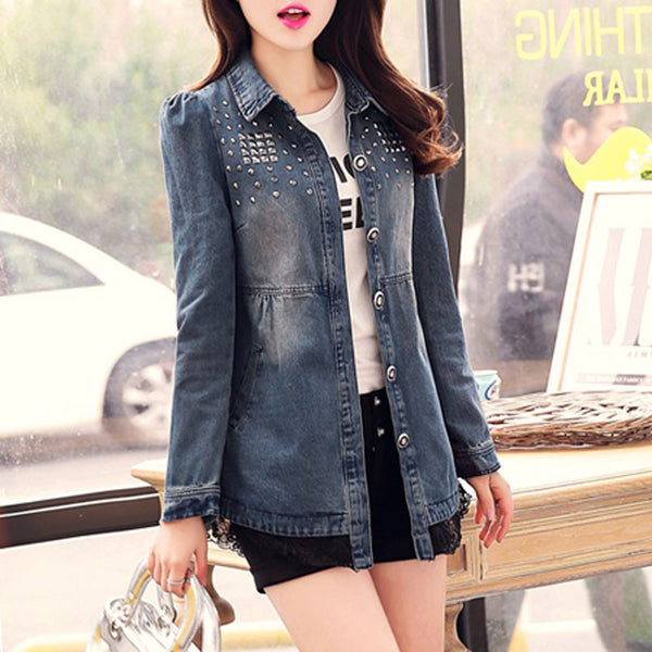 Jacket – Women's Spring / Autumn Turn-Down Collar Denim Jacket | Zorket