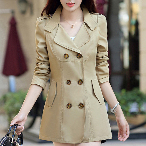 Trench Coat – Women's Turn-Down Collar Double Breasted Slim Coat | Zorket