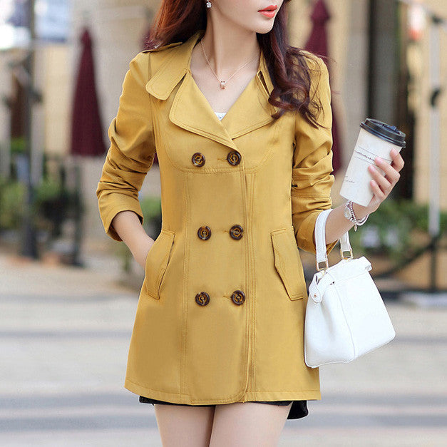 Women's Turn-Down Collar Double Breasted Slim Coat - Zorket