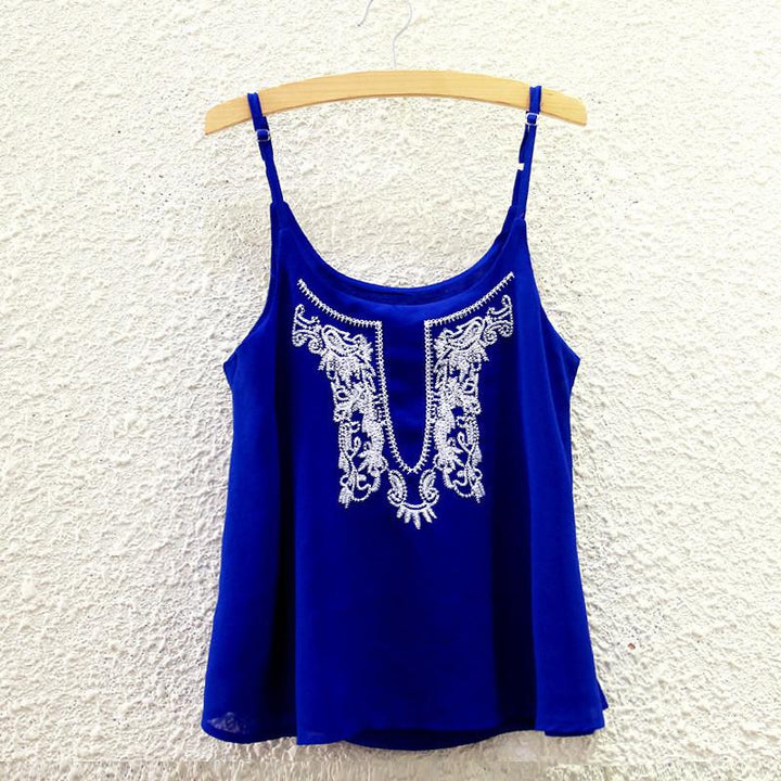 Fashion Solid Strappy Top With Embroidery