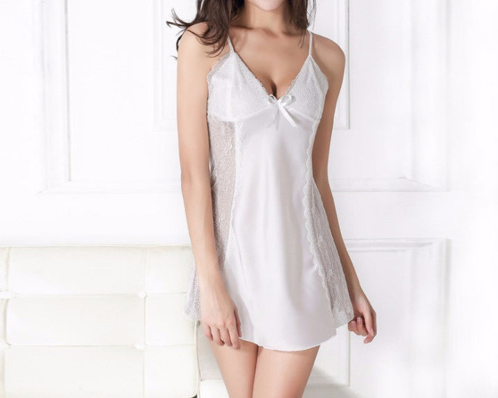 Women's Lace Nightgown With Spaghetti Straps - Zorket