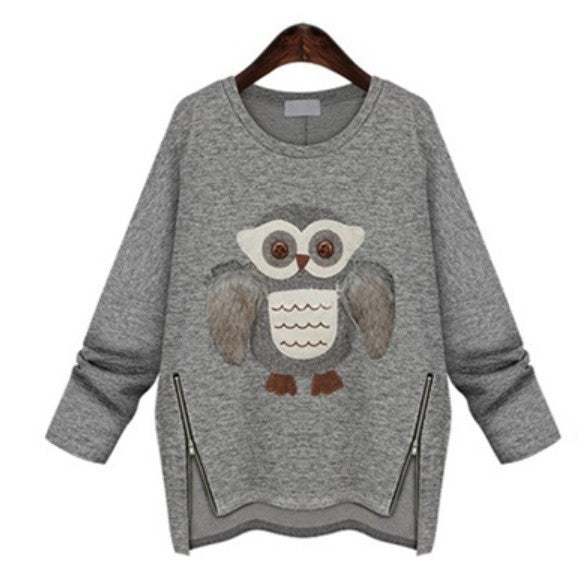 Female Casual Sweatshirt With Velvet Owl - Zorket