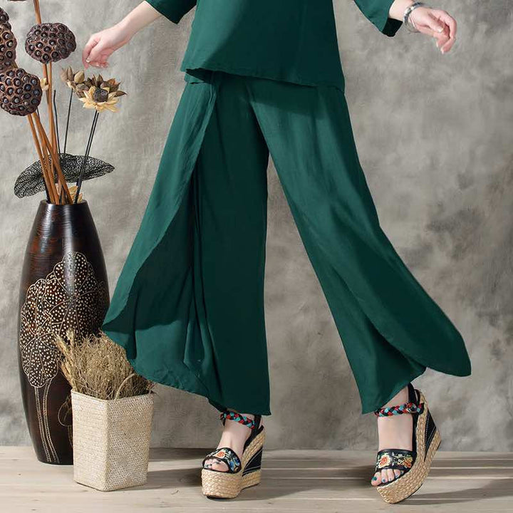 Women's Vintage Solid Color Pants - Zorket